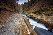 "Rivière Le Chéran, watercourse labeled ""Wild River"" by the Fonds for the Conservation of Wild Rivers. Héry sur Alby. Bauges massif Regional Nature Park, Haute-Savoie, Alps, France"
