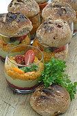 Verrine freshness with guacamole, gazpacho, raw beetroot caviar, basil, homemade rolls, organic meal