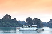 Halong Bay, cruise ship for tourism on the bay, Vietnam