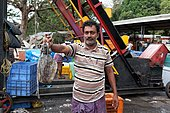 Fishing in Kerala. Fisher showing a cuttlefish in a fishing port in Beypore