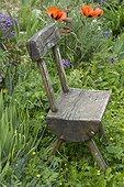 Rustic wooden garden chair