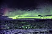Northern Lights, Aurora Borealis at Jökulsárlón, glacial river lagoon on the edge of Vatnajökull National Park, southeast Iceland