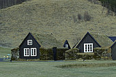 Turf-roofed cottages from the 19th century rebuilt from the museum, Skogar, south Iceland