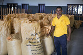 Portrait of Aureliano Pires, Chairman of the Board of Directors of CECAB, Drying and Bagging Center, Organic Cocoa Production and Export Cooperative, Fair Trade, Guadalupel, Sao Tome and Principe Island
