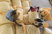 Preparation of bags for export to Europe, Drying and Bagging Center, CECAB, Organic Cocoa Production and Export Cooperative, Fair Trade, Guadalupel, Sao Tome and Principe Island