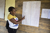 Woman CECAB Employee Showing Cocoa Producers Table, Organic Cocoa Production and Export Cooperative, Fair Trade, Manha Sol, Sao Tome and Principe Island