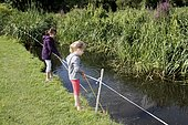Fishing with small fish in the Marais Vernier at the Grand-Mare in the Regional Natural Park of the Loops of the Norman Seine, Normandy, France