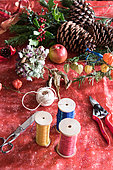 Making of a Christmas wreath