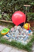 Decoration on the theme of the sea in a garden, summer, Pas de Calais, France
