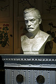 The House of Louis Pasteur Museum, bust of Louis Pasteur on the stove in the laboratory, Arbois, Jura, France