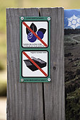 Logos limited picking of blueberries and ban combing, information post at the start of the hiking trail in the Tanet-Gazon du Faing Nature Reserve, Hautes-Vosges, France