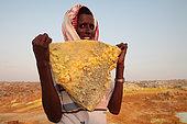 Slab of salt coloured by sulphur, Dallol volcano, Danakil depression, Ethiopia