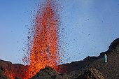 volcanologist on Piton de la Fournaise in activity, Volcano eruption 16 of september 2016, Reunion