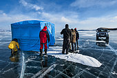 Divers before diving under the ice, Lake Baikal, Siberia, Russia