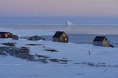 Kap Hope village (Igterajivit), February 2016, the Scoresbysund in the background, Greenland.