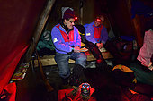 Inside the hut, Greenland, February 2016, At this time of the year the night is pitch-dark for 18 hours