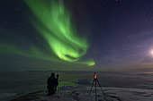 Shooting aurora borealis, Greenland, February 2016