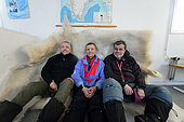 Left to right: Pierre, Frederic Vernay and Jean Yves Lapaix. In a classroom of an abandoned school in Unarteq, Greenland, February 2016