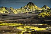 Moss-covered mountains, landscape surrounding Lake Langisjór, Highlands, Iceland, Europe