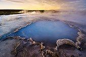 Blue water pool, Bláhver hot spring, Hveravellir high-temperature or geothermal region, Highlands, Iceland, Europe