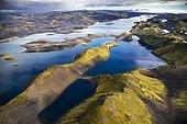 Aerial view, Lake Langisjór, moss-covered mountains, Icelandic Highlands, Iceland, Europe