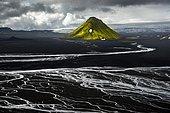 Aerial view, moss-covered Mælifell Mountain, black sand of Mælifellssandur Desert, sandur outwash plain, Icelandic Highlands, Iceland, Europe