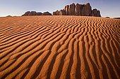 Red sand dunes, rocks, Wadi Rum Desert, Jordan, Middle East, Asia