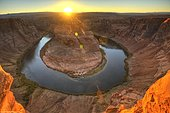 Horseshoe Bend or King Bend, a meandering bend of the Colorado River, at sunset, Page, Glen Canyon National Recreation Area, Arizona, United States of America, USA, North America