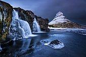 Peak of Kirkjufell with waterfall, Kirkjufell, Snæfellsnes peninsula, Iceland, Europe