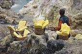 Indonesia, Java Island, East Java province, Kawah Ijen volcano, sulfur miner