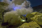 Indonesia, Java Island, East Java province, Kawah Ijen volcano, sulfur flames