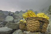 Indonesia, Java Island, East Java province, Kawah Ijen volcano, sulfur baskets and miner