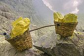 Indonesia, Java Island, East Java province, Kawah Ijen volcano, sulfur baskets