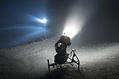 Snow cannons in night, Les Brasses ski ressort, Alpes, France
