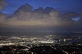 Cumulus congestus pre-stormy on the Jura and panoramic view of Geneva, Switzerland