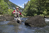 Fly fishing on the Doubs, French-Swiss Border, Refrain, Doubs, Franche-Comté, France