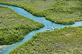 Aerial view of boats anchored in the mangrove, Marathon Island in the Keys archipelago, Florida