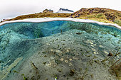 Split view of Litlaa river, Iceland