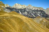 Les Roubines nègres, seen from the Fourches pass (2261m), Haute Tinée Valley in autumn, Mercantour, Alpes, France