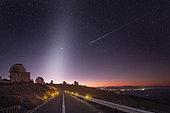 Zodiacal light and shooting star, La Silla Observatory, Atacama, Desert, Chile