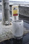 Waste bin frozen during the episode of extreme cold around Lake Geneva, January 17, 2017, Versoix, Switzerland