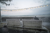 Sprays glaicing instantly on the shores of Lake Geneva, during the cold wind episode of Tuesday January 17, 2017, Versoix, Switzerland