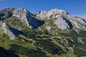 Gourette ski resort in summer and limestone massif of the Pic du Ger, Pyrenees France