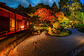 Manshuin temple at night in Kyoto, japan