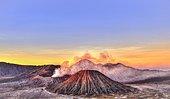 Sunrise, smoking Mount Bromo, Mt. Batok at front, Mt. Kursi at back, Mt. Gunung Semeru, Bromo Tengger Semeru National Park, Java, Indonesia, Asia