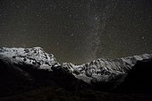 View of the snow covered Annapurna 1 North Face, mid, and the Annapurna South summit , left at night with stars and Milky Way, Chomrong, Kaski District, Nepal, Asia