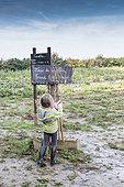 Girl picking up a pitchfork in a carrot field, Pas de Calais, France