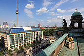 Urban Beekeeping - Frank Hinrichs has placed two hives on the Berlin Cathedral, with in the background the ex-DDR's famous TV tower on AlexanderPlatz. Germany