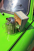 Urban Beekeeping - A smoker, one of the beekeeper's tools, sitting on a Trabant. Berlin, Germany