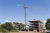 Abandoned yards following the economic crisis, crane colonized by white stork nests, Lerida, Catalonia, Spain